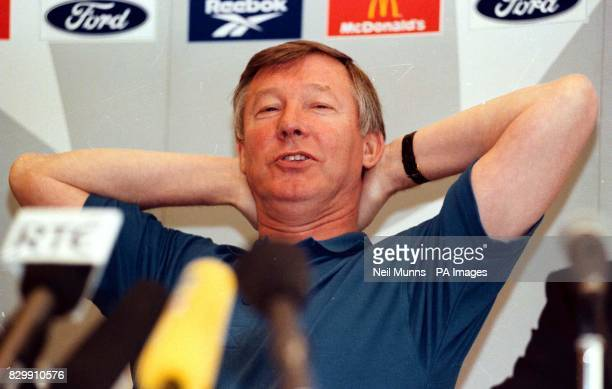 Manchester United Manager Alex Ferguson looks relaxed during a news conference held at the Holiday Inn in Dortmund this morning Manchester United are...