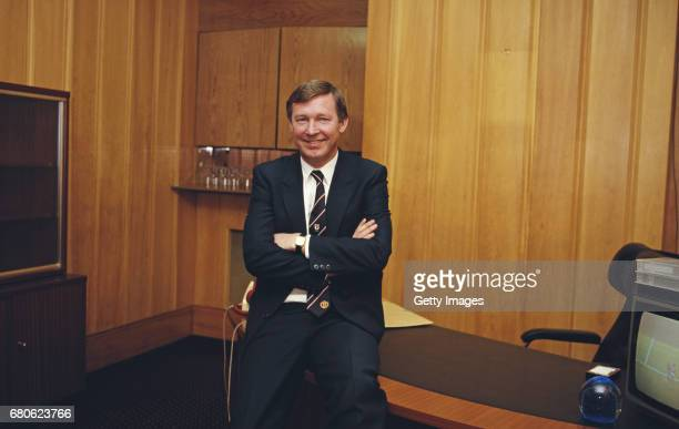 Manchester United manager Alex Ferguson pictured in an office at Old Trafford circa 1986 in Manchester England