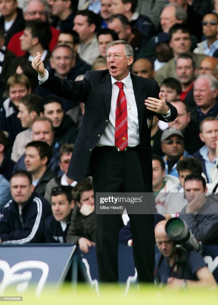 Manchester United Manager Alex Ferguson shouts instructions from the sidelines during the Barclays Premiership match between Tottenham Hotspur and Manchester United at White Hart Lane on April 17, 2006 in London, England.
