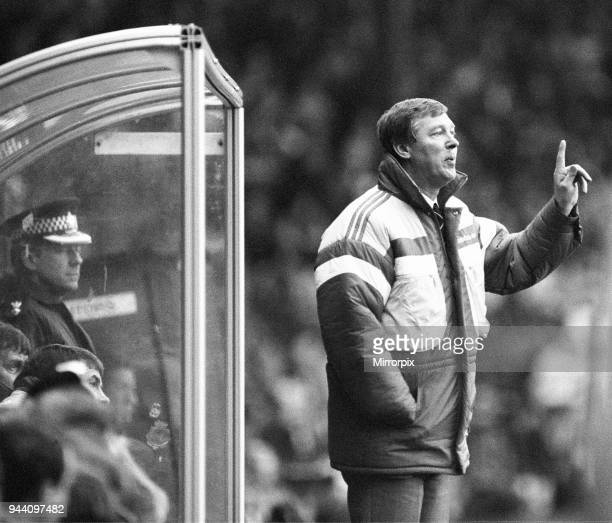 Manchester United manager Alex Ferguson shouts instructions from the dugout during his side's 1-0 defeat to Norwich City in the League Division One...