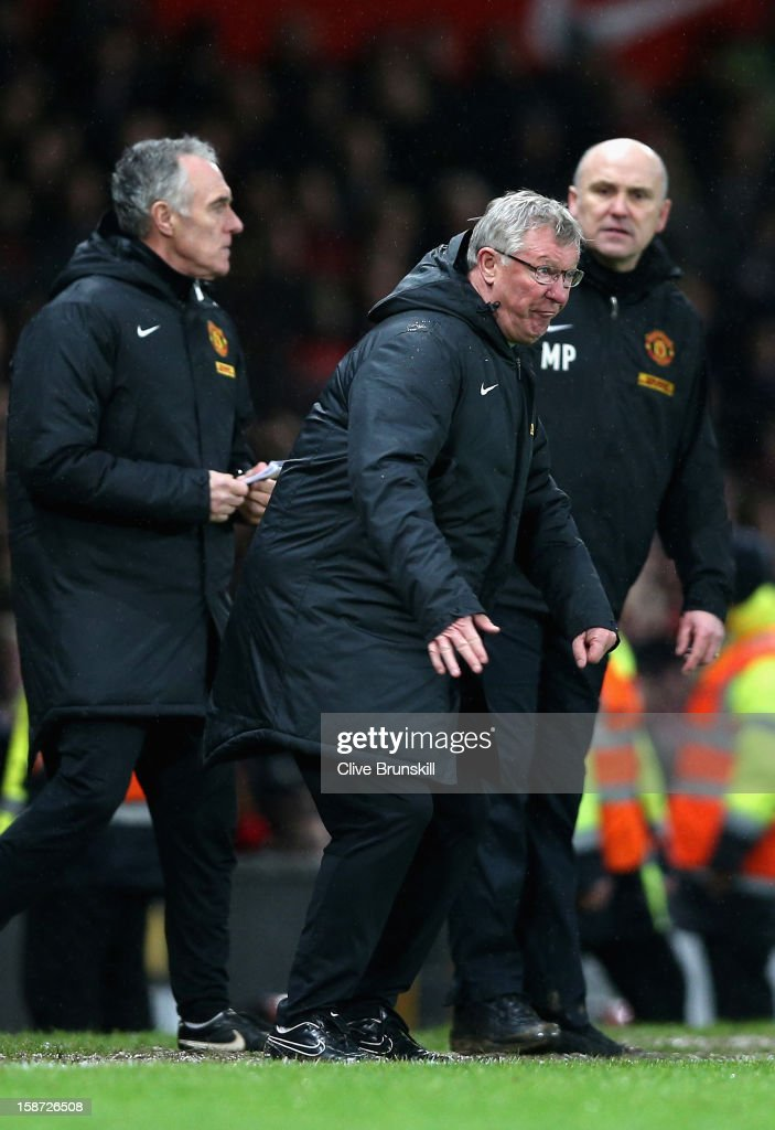 Manchester United manager Alex Ferguson shows his frustrations during the Barclays Premier League match between Manchester United and Newcastle United at Old Trafford December 26, 2012 in Manchester, England.