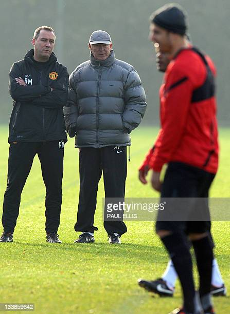 Manchester United manager Alex Ferguson takes part in a training session on November 21, 2011 in Manchester. Manchester United will play against...