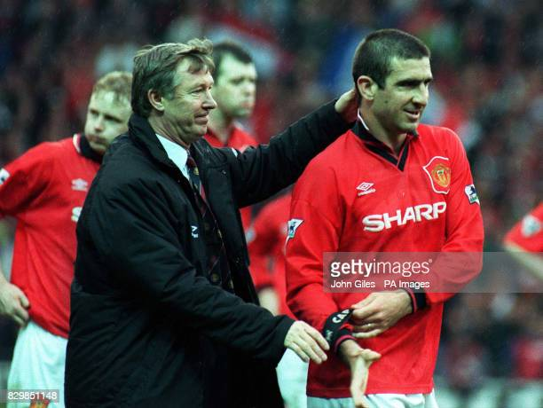 Manchester United Manager Alex Ferguson thanks Captain Eric Cantona as United crushed Nottingham Forest today to enhance their Premiership Title...