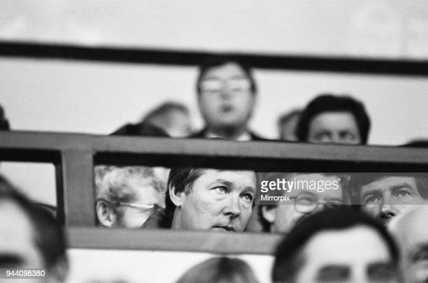 Manchester United manager Alex Ferguson watches his side in action against Norwich City in the League Division One match at Carrow Road, only his...