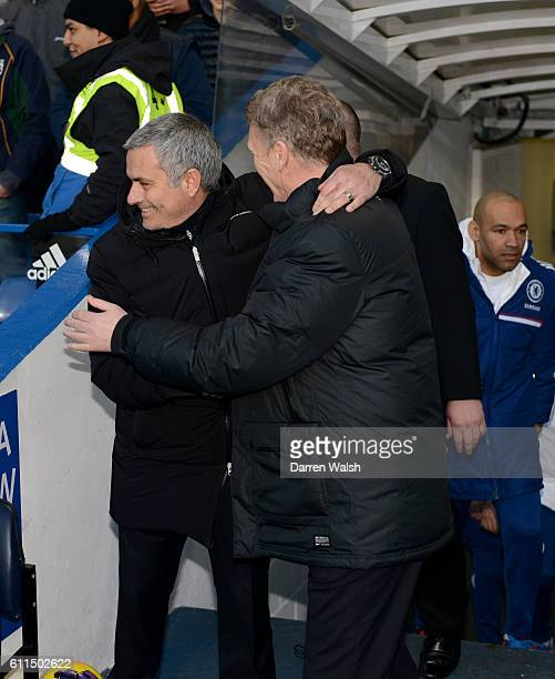 Manchester United manager David Moyes and Chelsea manager Jose Mourinho before kickoff