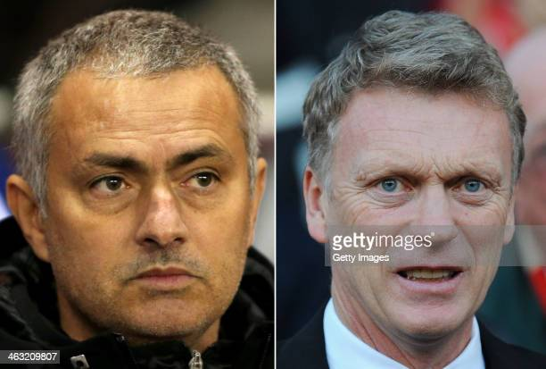 IMAGES Image Numbers 457440753 and 458764923 In this composite image a comparison has been made between Jose Mourinho Manager of Chelsea and David...