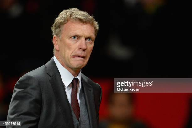 Manchester United Manager David Moyes reacts at the end of the Barclays Premier League match between Manchester United and Tottenham Hotspur at Old...