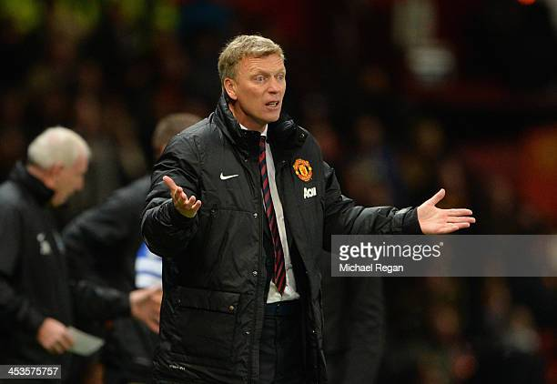 Manchester United Manager David Moyes reacts during the Barclays Premier League match between Manchester United and Everton at Old Trafford on...