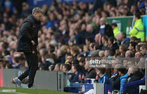 Manchester United manager David Moyes shows his dejection as he walks back to his team bench during the Barclays Premier League match between Everton...