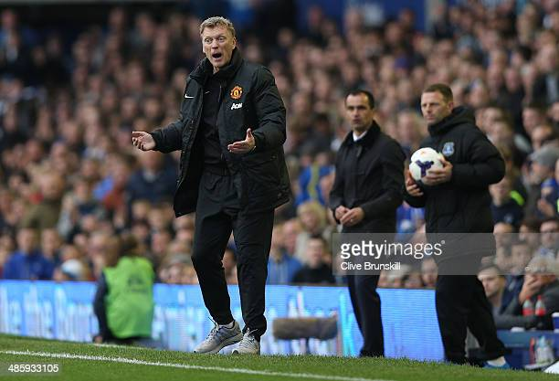 Manchester United manager David Moyes shows his frustrations during the Barclays Premier League match between Everton and Manchester United at...