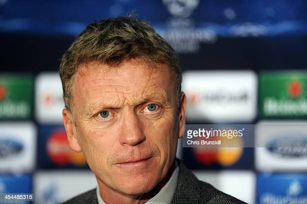 Manchester United manager David Moyes speaks at a press conference ahead of their UEFA Champions League Group A match against Shakhtar Donetsk at Old...