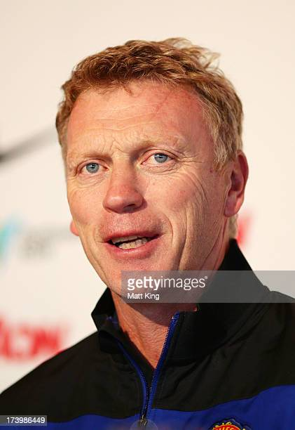 Manchester United manager David Moyes speaks to the media during a Manchester United press conference at Museum of Contemporary Art on July 19 2013...