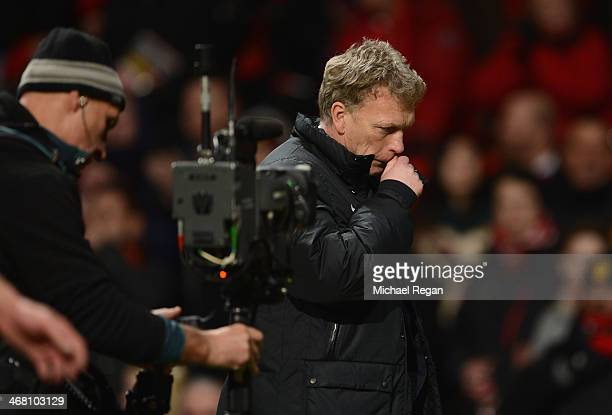 Manchester United Manager David Moyes walks off at the end of the Barclays Premier League match between Manchester United and Fulham at Old Trafford...