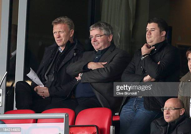 Manchester United manager David Moyes watches from the crowd during the Sky Bet League Two match between Fleetwood Town and Chesterfield at Highbury...