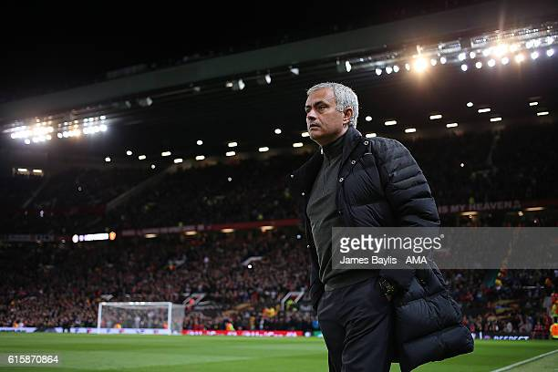 Manchester United Manager / Head Coach Jose Mourinho looks on prior to the UEFA Europa League match between Manchester United FC and Fenerbahce SK at...