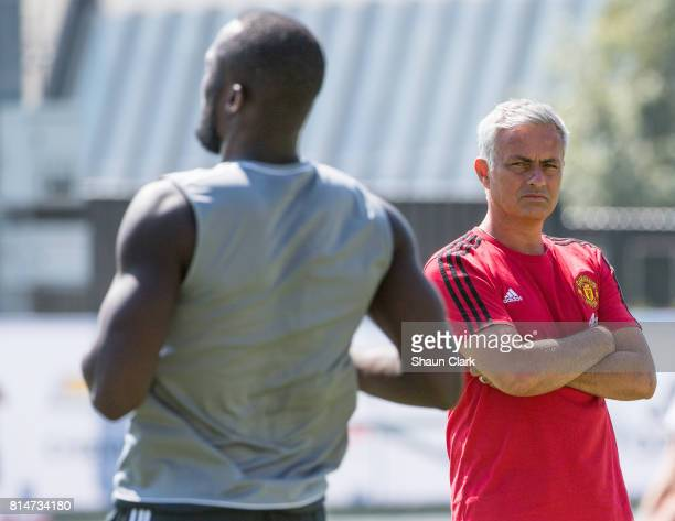 Manchester United Manager / Head Coach Jose Mourinho watches Romelu Lukaku of Manchester United during a Manchester United Open Training Session at...