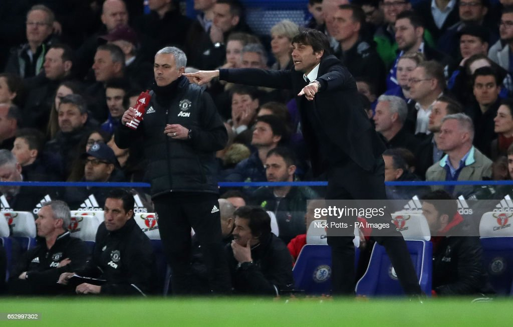 Manchester United manager Jose Mourinho and Chelsea manager Antonio Conte during the Emirates FA Cup, Quarter Final match at Stamford Bridge, London.