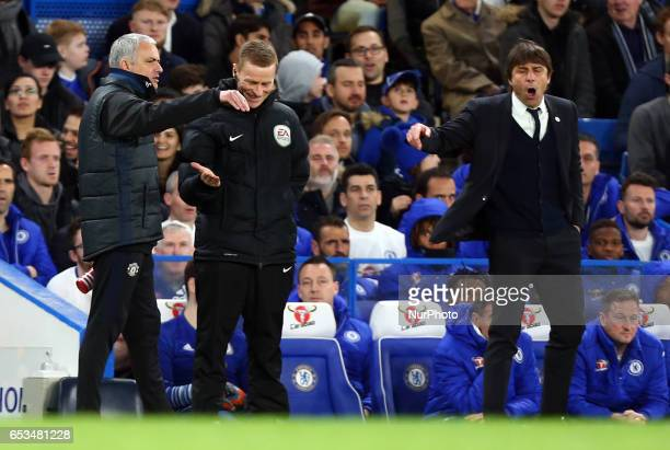Manchester United manager Jose Mourinho and Chelsea manager Antonio Conte having words during the The Emirates FA Cup Sixth Round match between...