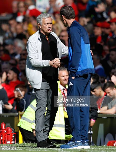 Manchester United manager Jose Mourinho and Watford manager Javi Gracia shake hands after the Premier League match at Old Trafford Manchester