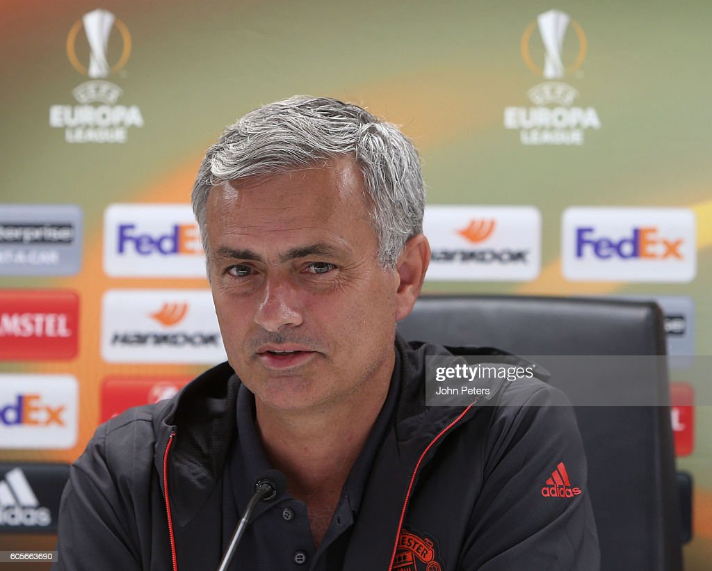 Manchester United Manager Jose Mourinho answers questions from the media during a press conference ahead of the UEFA Europa League Group A match between Feyenoord and Manchester United at De Kuip on September 14, 2016 in Rotterdam, Netherlands.