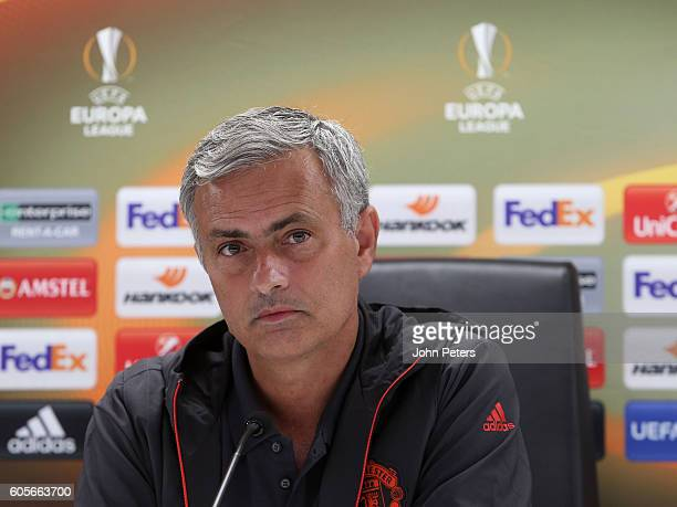 Manchester United Manager Jose Mourinho answers questions from the media during a press conference ahead of the UEFA Europa League Group A match...