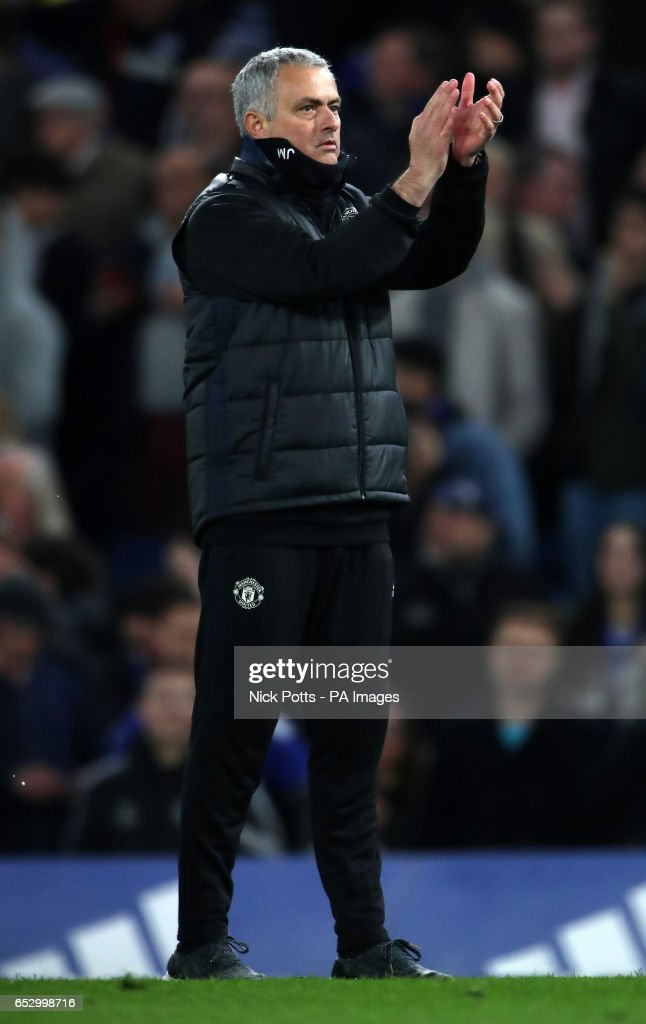 Manchester United manager Jose Mourinho applauds the fans after the Emirates FA Cup, Quarter Final match at Stamford Bridge, London.
