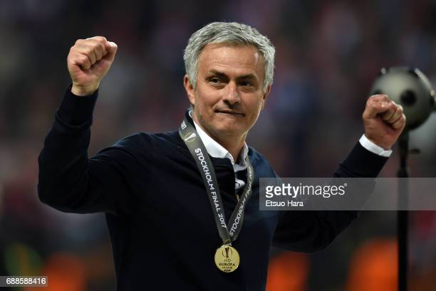 Manchester United manager Jose Mourinho celebrates after the UEFA Europa League final match between Ajax and Manchester United at Friends Arena on...