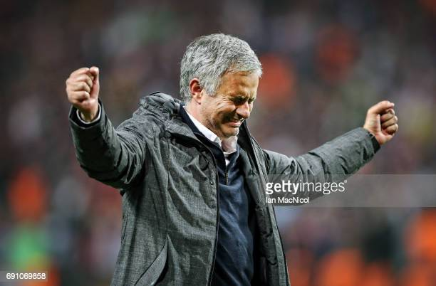 Manchester United manager Jose Mourinho celebrates during the UEFA Europa League Final match between Ajax and Manchester United at Friends Arena on...