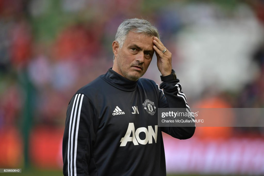 Manchester United manager Jose Mourinho during the Aon Tour pre season friendly game between Manchester United and Sampdoria at Aviva Stadium on August 2, 2017 in Dublin, Ireland.