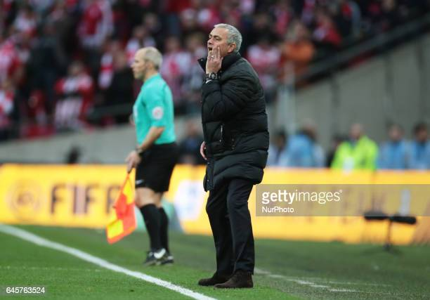 Manchester United manager Jose Mourinho during the EFL Cup Final Match between Manchester United and Southampton on February 26 at the Wembley...