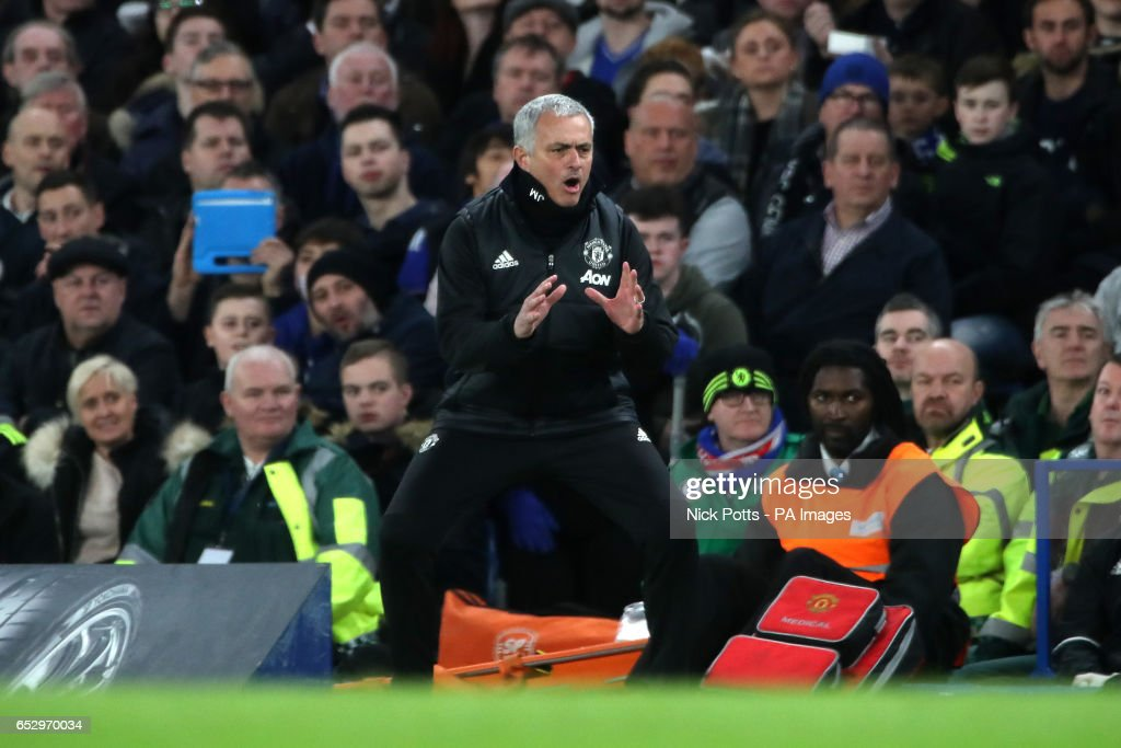 Manchester United manager Jose Mourinho during the Emirates FA Cup, Quarter Final match at Stamford Bridge, London.