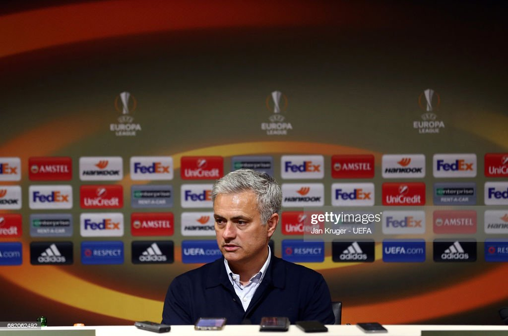Manchester United manager Jose Mourinho is interviewed post match during the Uefa Europa League, semi final second leg match, between Manchester United and Celta Vigo at Old Trafford on May 11, 2017 in Manchester, United Kingdom.