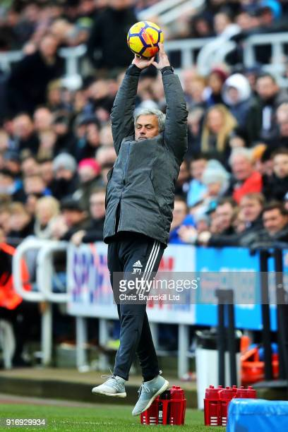 Manchester United manager Jose Mourinho jumps for a high ball during the Premier League match between Newcastle United and Manchester United at St...