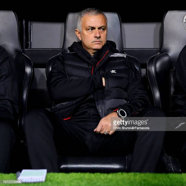 Manchester United manager Jose Mourinho looks on ahead of the UEFA Champions League Group H match between Valencia and Manchester United at Estadio...