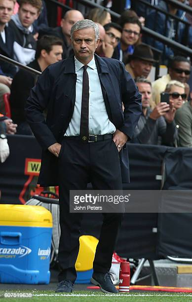 Manchester United Manager Jose Mourinho looks on during the Premier League match between Watford and Manchester United at Vicarage Road on September...