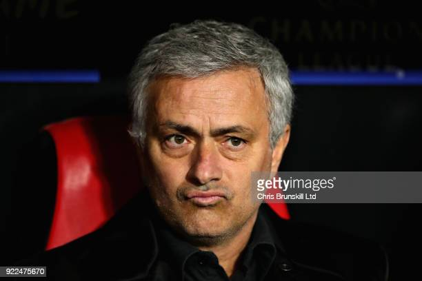 Manchester United manager Jose Mourinho looks on during the UEFA Champions League Round of 16 First Leg match between Sevilla FC and Manchester...