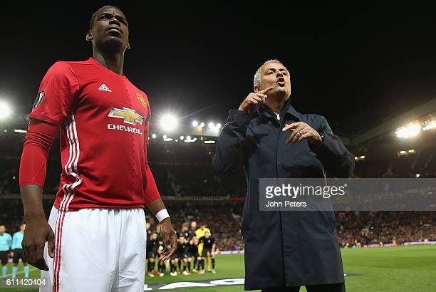 Manchester United Manager Jose Mourinho looks on with Paul Pogba prior to the UEFA Europa League match between Manchester United FC and FC Zorya...