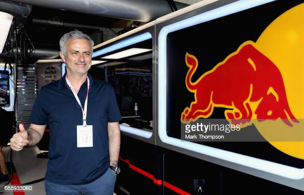 Manchester United manager Jose Mourinho of Portugal in the Red Bull Racing garage during qualifying for the Monaco Formula One Grand Prix at Circuit...