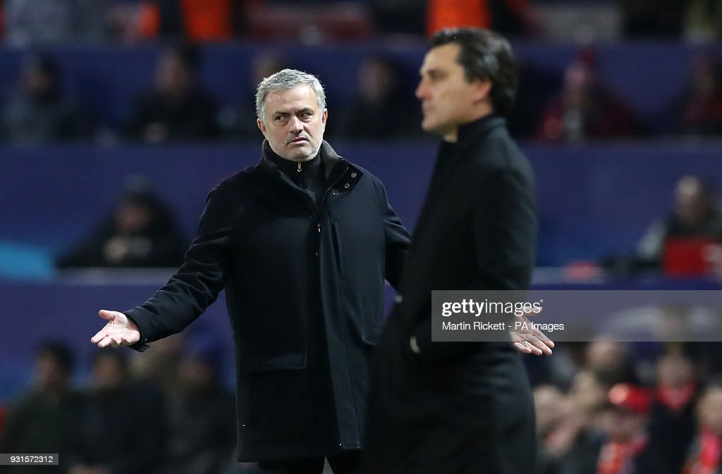 Manchester United manager Jose Mourinho on the touchline during the UEFA Champions League round of 16, second leg match at Old Trafford, Manchester.