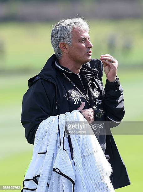 Manchester United Manager Jose Mourinho reacts during a first team training session at Aon Training Complex on August 12 2016 in Manchester England