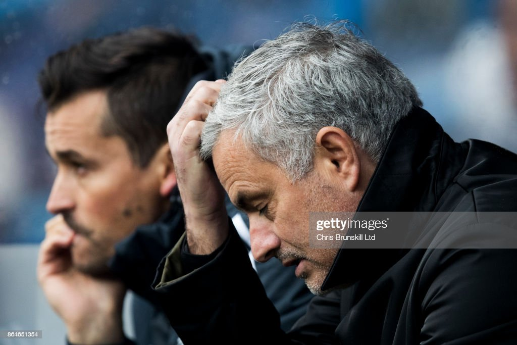 Manchester United manager Jose Mourinho reacts during the Premier League match between Huddersfield Town and Manchester United at John Smith's Stadium on October 21, 2017 in Huddersfield, England.