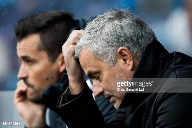 Manchester United manager Jose Mourinho reacts during the Premier League match between Huddersfield Town and Manchester United at John Smith's...