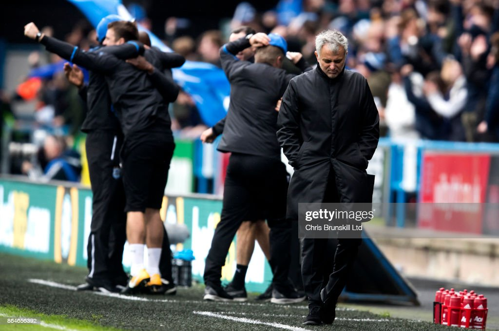 Manchester United manager Jose Mourinho reacts following Huddersfield Town's second goal during the Premier League match between Huddersfield Town and Manchester United at John Smith's Stadium on October 21, 2017 in Huddersfield, England.