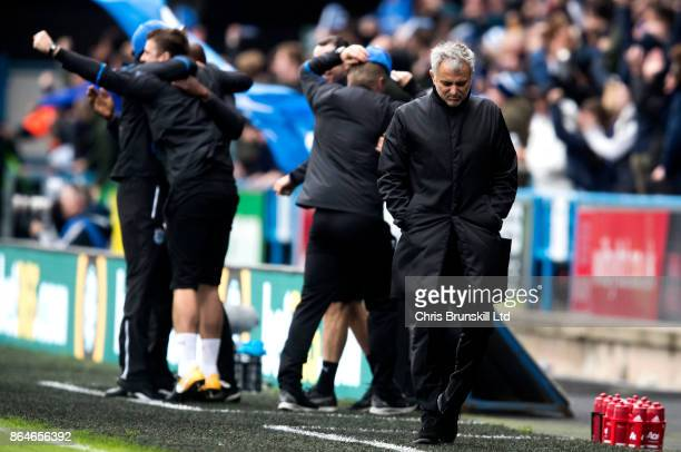 Manchester United manager Jose Mourinho reacts following Huddersfield Town's second goal during the Premier League match between Huddersfield Town...