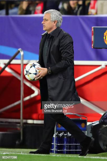 Manchester United manager Jose Mourinho returns the ball to the field of play during the UEFA Champions League Round of 16 First Leg match between...