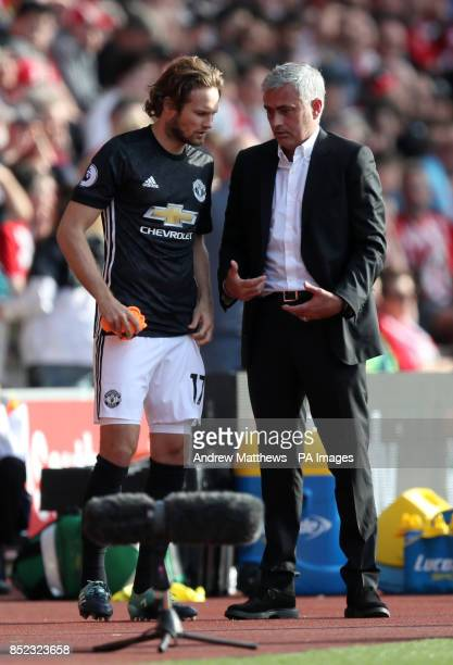 Manchester United manager Jose Mourinho speaks to Manchester United's Daley Blind during the Premier League match at St Mary's Stadium Southampton