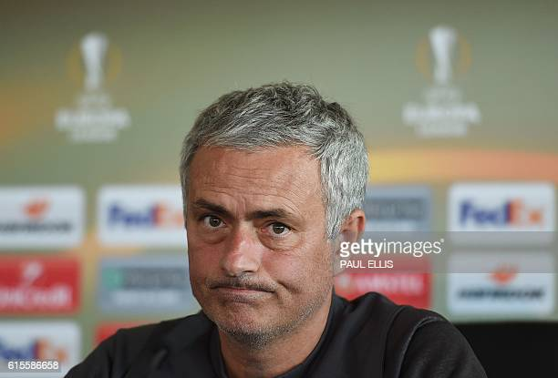 Manchester United manager Jose Mourinho takes part in a press conference at their Carrington base in Manchester northwest England on October 19 2016...