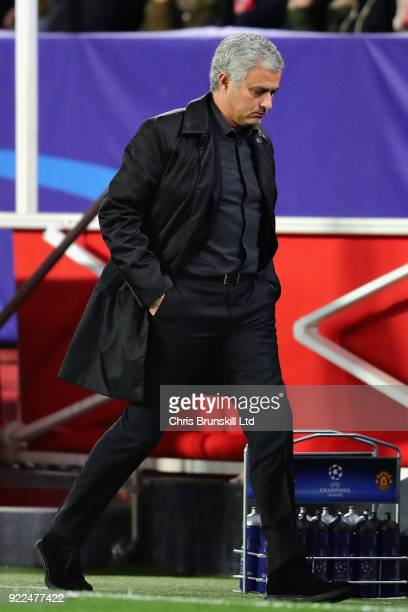 Manchester United manager Jose Mourinho walks on the touchline during the UEFA Champions League Round of 16 First Leg match between Sevilla FC and...