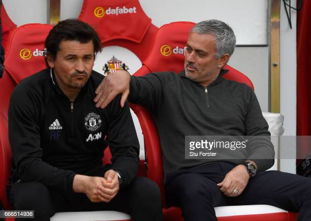 Manchester United Manager Jose Mourinho with assistant Rui Faria during the Premier League match between Sunderland and Manchester United at Stadium...