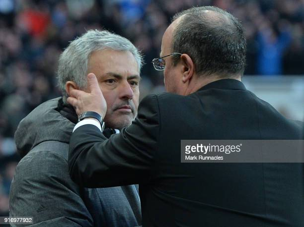 Manchester United Manager Jose Mourinho with Newcastle United manager Rafa Benitez at the final whistle during the Premier League match between...